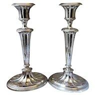 Pair Of Sheffield Plate Candlesticks Antique Georgian c.1800.