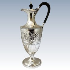 Sterling Silver Claret Jug Antique Victorian Hallmarked London 1892.