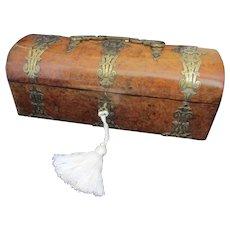 Brass Bound Burr Walnut Ladies Glove Box Antique Victorian C1890.
