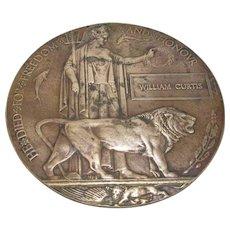 Bronze World War I Memorial Plaque Or Death Penny Antique c.1919