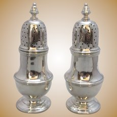 Chinese Sterling Silver Pair Pepperettes Chinese Hallmarks.