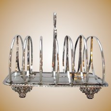 English Sterling Silver Seven Bar Toast Rack Antique c.1826.