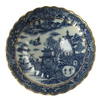 Temple Pattern Saucer by Caughley Antique Georgian c1785.