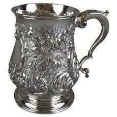 Sterling Silver Repousse Tankard Francis Crump London Antique Georgian c1766