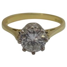 18k 18ct Yellow Gold 0.6ct Diamond Solitaire Ring Vintage English 1987.