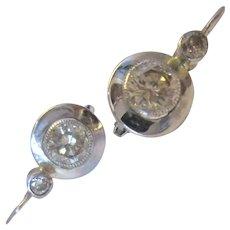 18k 18ct White Gold Diamond Earrings Vintage c1980.
