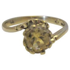 9k 9ct Yellow Gold Citrine Ring Vintage c1980.