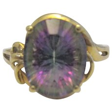 9k 9ct Yellow Gold Mystic Topaz Ring Vintage c1980.
