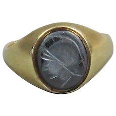 Centurion Ring 9k Gold and Carved Hematite Vintage c1990