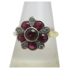 Ruby & Diamond 18k Gold Ring Vintage c1980