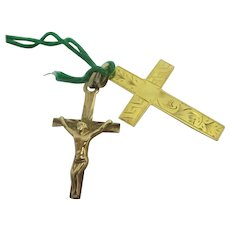 Pair of 9k Gold Cross Corpus Christi Pendant Vintage c1960