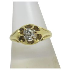 0.25ct Solitaire Diamond 18k Gold Ring Vintage c1980