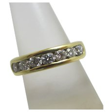 Approx 0.7ct Diamond in 18k Gold Half Eternity Ring Vintage c1980