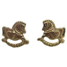 Rocking Horse 9k Gold Stud Earrings Vintage c1980