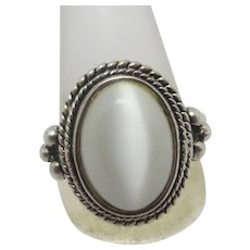 Cabochon Chalcedony in Sterling Silver Ring Vintage c1980