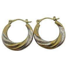 2 Colour 9k Gold Sleeper Hoop Earrings Vintage c1980