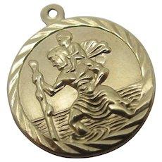 St Christopher 9k Gold Pendant Charm Vintage c1980