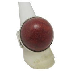 Red Agate in Sterling Silver Ring Vintage c1980