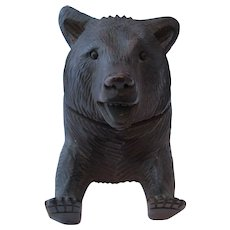 Antique Victorian Carved Black Forest Bear Inkwell