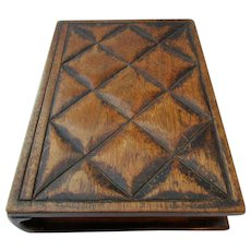 Antique Edwardian Novelty Carved Book Box