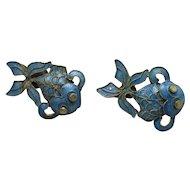 Chinese Cloisonne Gilt Metal & Enamel Fish Earrings Vintage c1930.