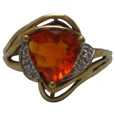 9ct Yellow Gold Fire Opal & Diamond Ring Vintage c1980s.