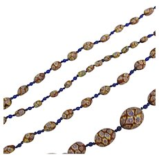 Venetian Millefiori Glass Bead Extra Long Necklace Antique Art Deco c1930.