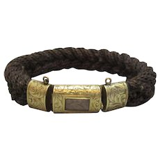 Woven Hair Bracelet With 15ct Gold Clasp Antique Victorian c1850.