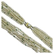 Pearl & Emerald Multi-strand Beaded Necklace Antique Art Deco c1920.