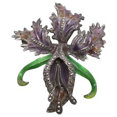 Sterling Silver Marcasite & Enamel Flower Brooch Antique c1940.