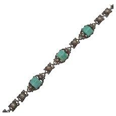 Sterling Silver Green Peking Glass & Marcasite Bracelet Antique Art Deco.