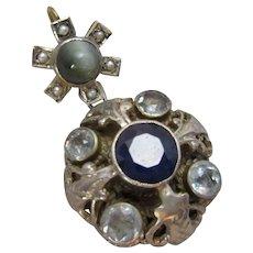 Austro Hungarian Silver Gilt Sapphire Pearl Pendant Antique Victorian c1890.