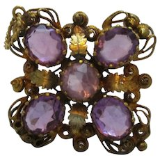 Gilt Metal Canatille Amethyst Pendant Brooch / Pin Antique Victorian c1860.