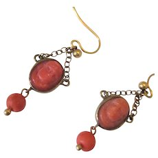Yellow Metal Carved Red Coral Cameo Earrings Antique Georgian c1820.