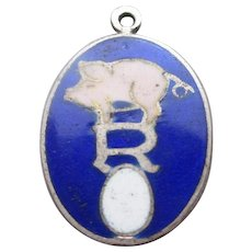 Sterling Silver & Enamel Pig Above Egg With Letter R Pendant Charm Vintage Art Deco c.1920.