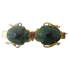 18k Yellow Gold & Ruby Scarab Beetle Egyptian Revival Brooch Vintage c. 1920.
