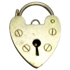 9ct Yellow Gold Heart Charm Padlock Clasp Findings Vintage 1971-72