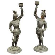 Cold Painted Spelter Knight Candlesticks Victorian c1880