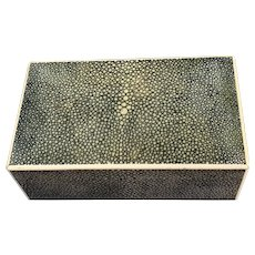 Shagreen Green Colour Wooden Jewellery Box With Two Compartments Antique Victorian c1890