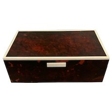 Celluloid Jewellery Box With White Celluloid Outline Antique Victorian c1890