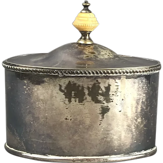 Sheffield Plate Oval Tea Caddy Antique Georgian c1820