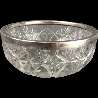 Cut Glass & Sterling Silver Rimmed Bowl Birmingham Antique 1912