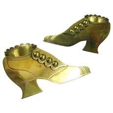 Novelty Brass Shoe Flower Posy Holders Antique c1880