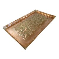 Large Arts & Crafts Hand Hammered & Embossed Tray Antique c1900