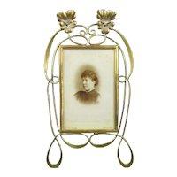 Brass Easel Photo Picture Frame Antique Art Nouveau c1910