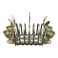 Silver Plate Toast And Egg Stand Antique Victorian c1900
