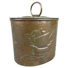 Newlyn Copper Tea Caddy Antique Victorian c1900
