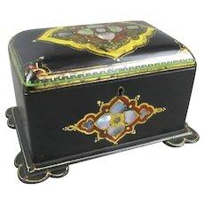 Black Lacquer Papier Mache & Abalone Inlaid Tea Caddy Antique Victorian c1860