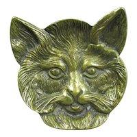 Brass Cat Face Pin Dish Vintage Mid Century c1960