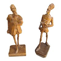 Carved Wooden Pair Of Don Quixote Figures Vintage Mid Century c1960